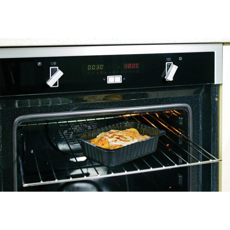 Contenitore Compac in CPET nero in forno tradizionale