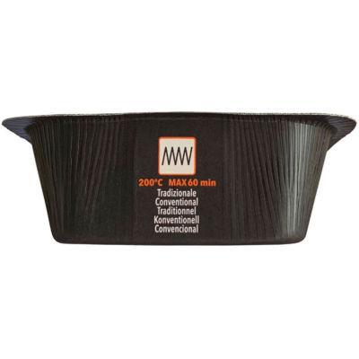 Contenitore Compac in CARTONCINO+PET (CA+PET) nero riciclabile, utilizzo in forno tradizionale