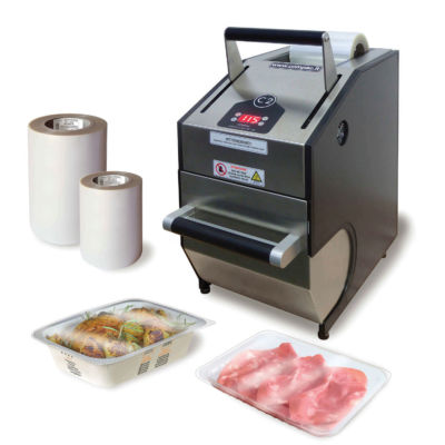Heat Sealer Machine C2H Compac with compostable containers and film reels