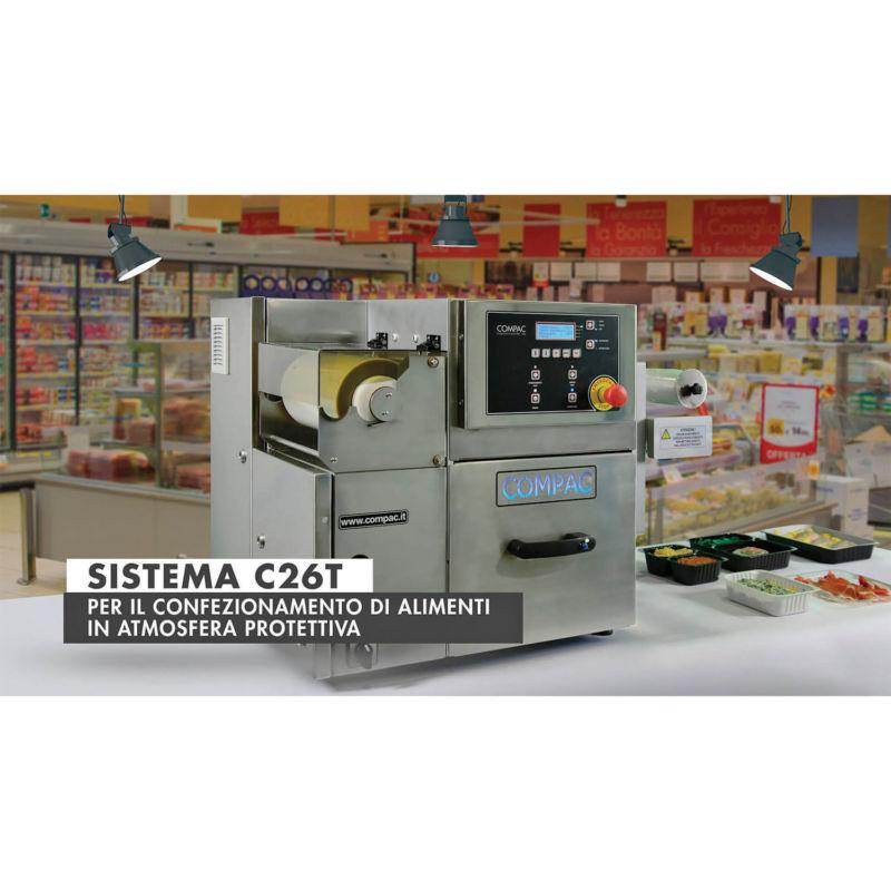 Sistema C26T Compac per il confezionamento di alimenti in atmosfera protettiva al banco del supermercato